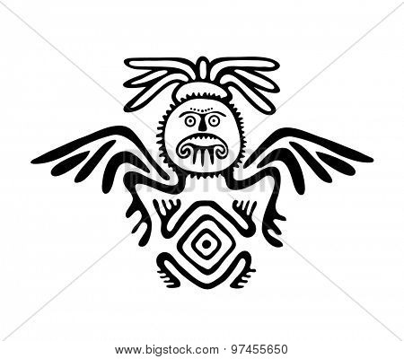 winged black alien in native style, vector illustration
