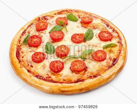 Pizza Margherita. Tomato, Basil Leafs. Isolated On White Background