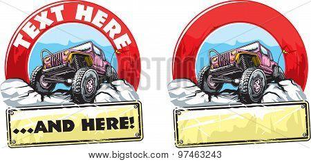 Vector illustration of off-road vehicle logo design. poster