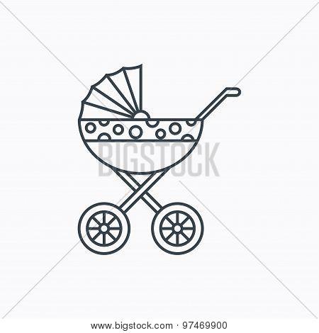 Pram icon. Newborn stroller sign.