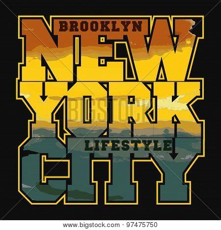 New York Sport T-shirt Design - vector