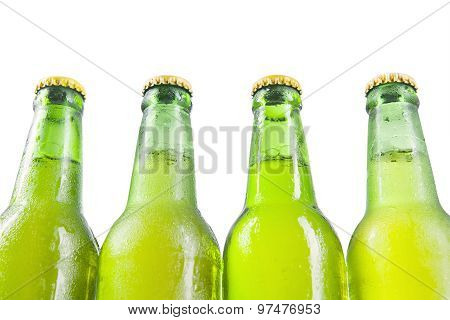 Cold Beer On The Bottle Isolated On White