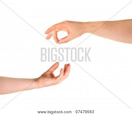 Begging for alms help caucasian hand gesture composition isolated over white background poster