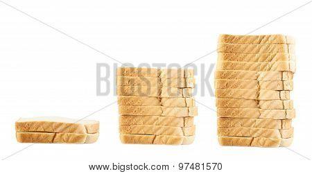 Three piles of toast bread slices