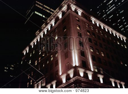 Stock Photo Of Manhattan Buildings At Night, B&W/Tint