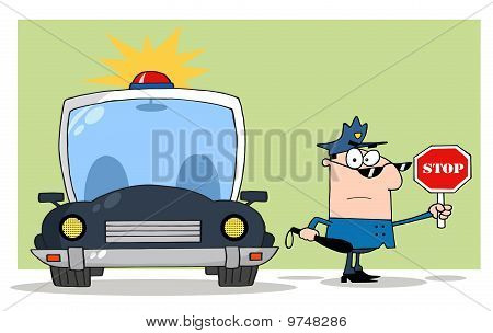 Traffic Police Officer With Car