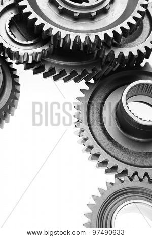 Metal cog wheels bonding together poster