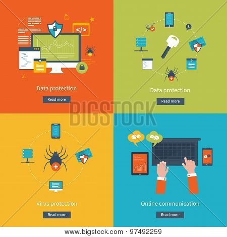 Set of flat design vector illustration concepts for data protection,  virus protection, safe work, i