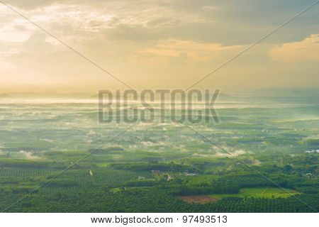 Mountain Landscape With Fog In Morning.