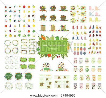 Vector vegan set of food, bags, frames, logos