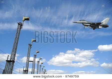 F-16 Fighter Plane Near Airport