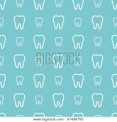 White Teeth On Blue Background. Vector Dental Seamless Pattern.