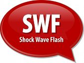 Speech bubble illustration of information technology acronym abbreviation term definition SWF Shock Wave Flash poster
