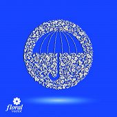 Beautiful flower-patterned umbrella. Stylized accessory, creative parasol, brolly graphic illustration, best for use in advertising and web design. poster