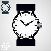 Vector simple wristwatch illustration, detailed quartz watch with dial and an hour hand. Stylized strap watch, symbolic timepiece. Web time conceptual business graphic design element. poster