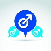 Speech bubble with a blue male sign, man gender symbol. Gay club conceptual icon,  chat on relationship theme. poster