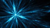 Flash of a blue supernova. Bright light rays. Abstract illustration. Format 16:9 for widescreen monitors. Fractal Wallpaper on your desktop. Digital artwork for creative graphic design. Dark background. poster