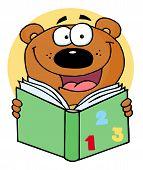 School Bear Reading A Green Math Book poster