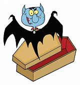 Happy Vampire Bat Flying Above A Coffin poster