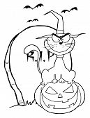 Coloring Page Outline Of A Cat Wearing A Witch Hat And Sitting On A Pumpkin By A Tombstone poster