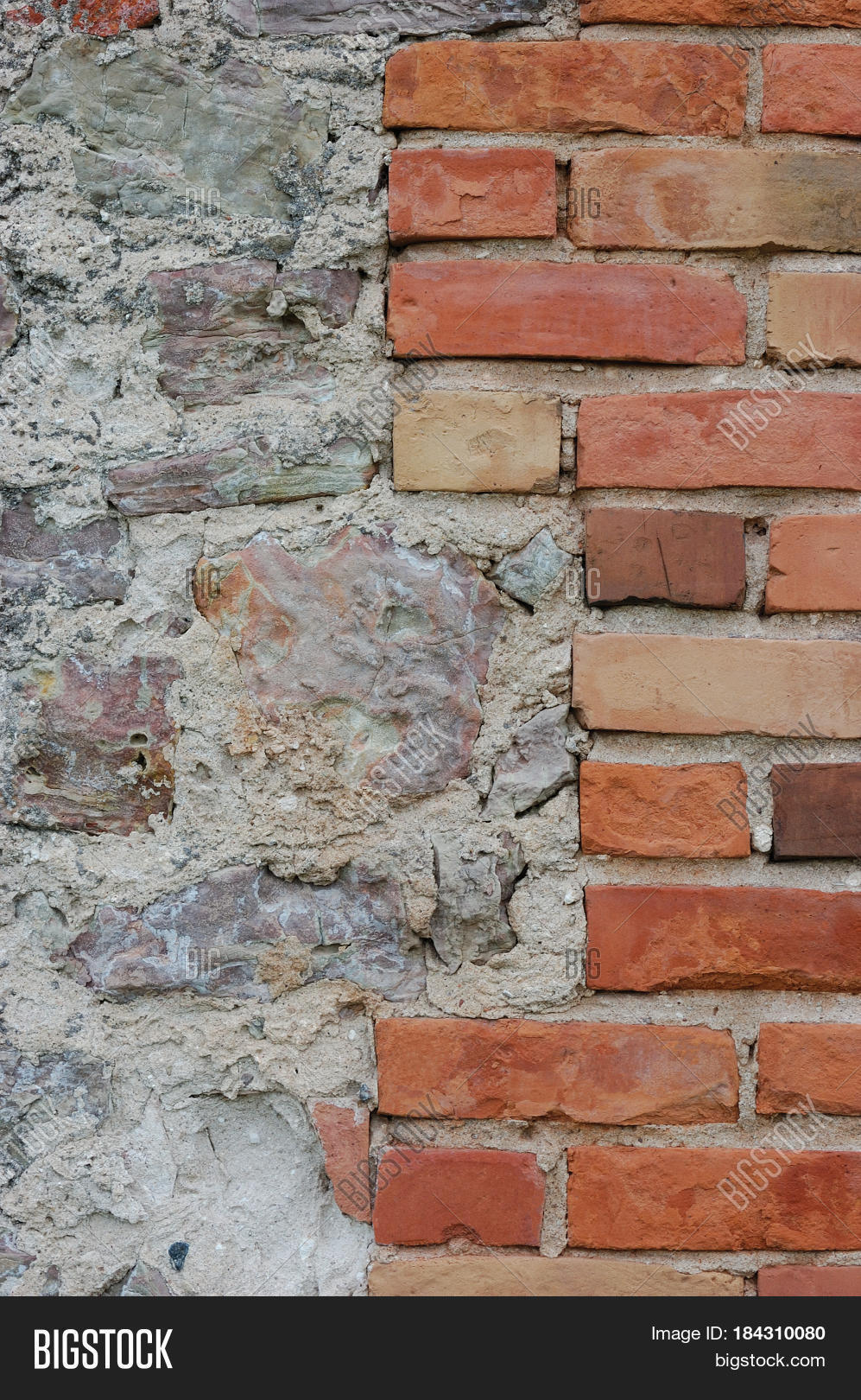 Stone Wall Background Closeup Vertical Plastered Grunge Red Brick Stonewall Beige Limestone Pattern Old Aged Weathered