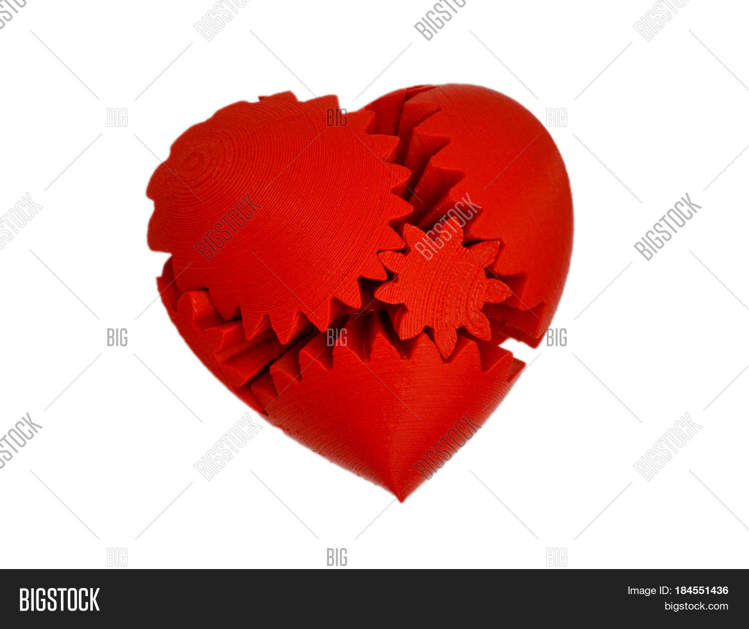 Objects Printed By 3d Printer Isolated On White Background Bright Colorful Object Heart Of