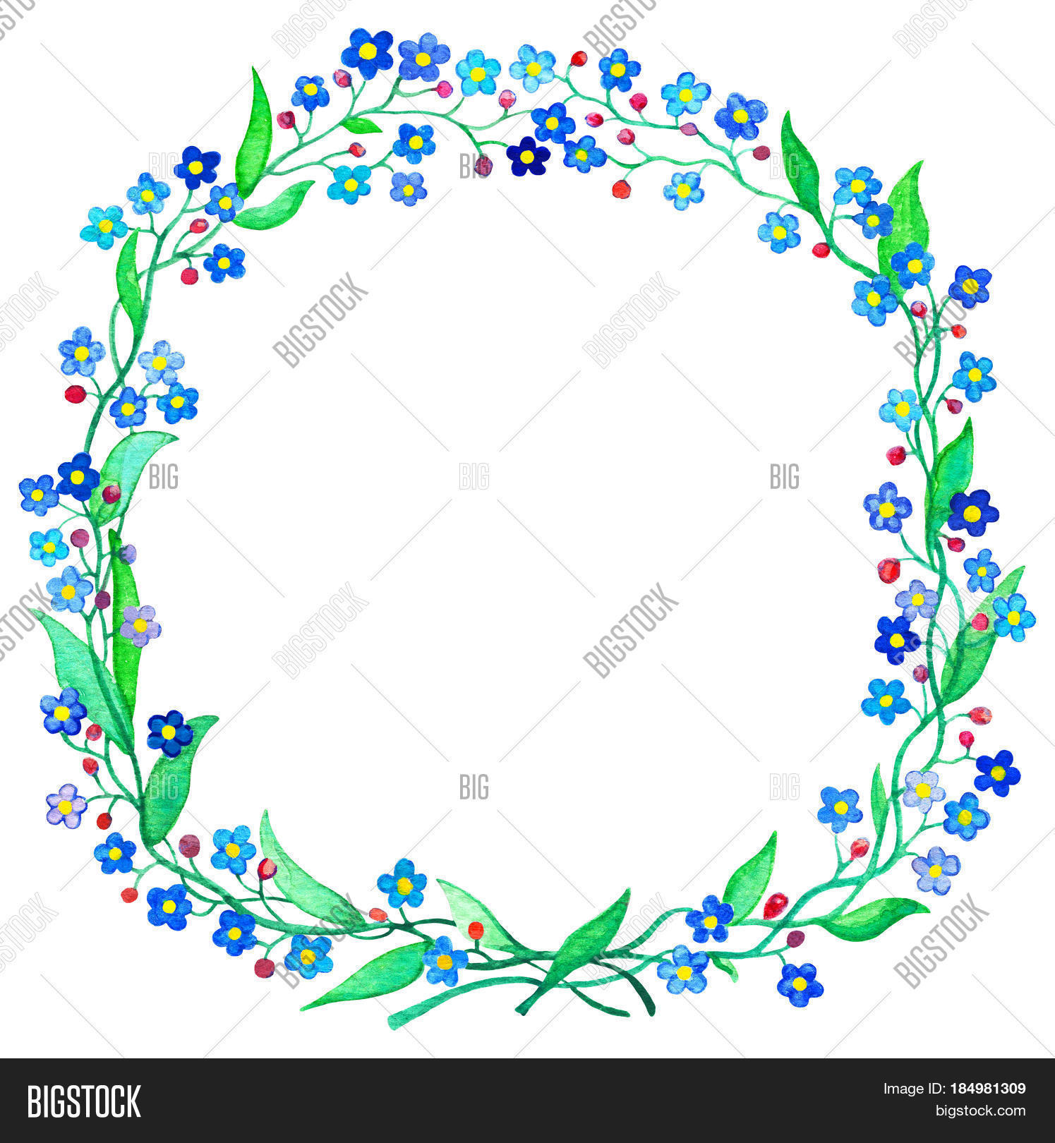 Blue forget me not wreath image photo bigstock blue forget me not wreath watercolor illustration spring flower forgetmenot on white background izmirmasajfo Gallery