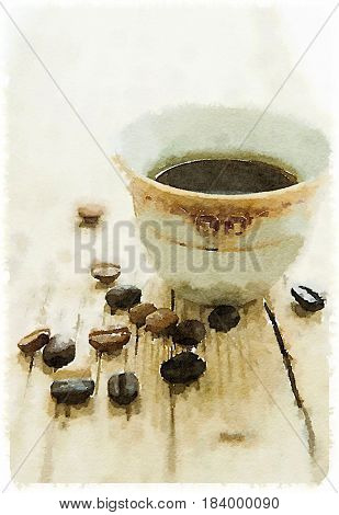 A water color hand painted drawing of roasted arabic coffee beans and a coffee cup. Food illustration.