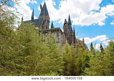 ORLANDO, FL-APRIL 19 2016: Hogwarts Castle, home to Harry Potter and the Forbidden Journey attraction Orlando USA