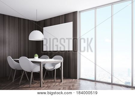 Side view of a kitchen corner with dark wooden walls a horizontal poster hanging above a table with four chairs and a panoramic window. 3d rendering mock up