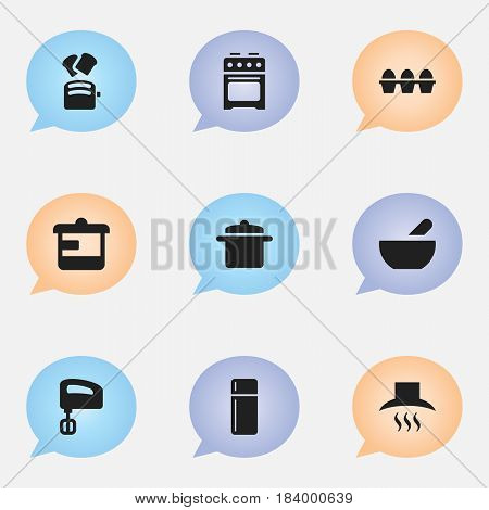 Set Of 9 Editable Food Icons. Includes Symbols Such As Cookware, Utensil, Kitchen Hood And More. Can Be Used For Web, Mobile, UI And Infographic Design.