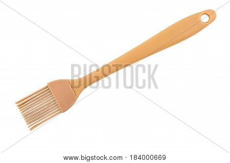 Kitchen Rubbery Brush With Plastic Handle Isolated On White