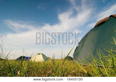 Hikers camp in sprung morning