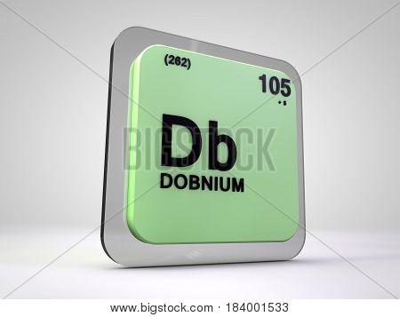 dobnium - Db - chemical element periodic table 3d illustration
