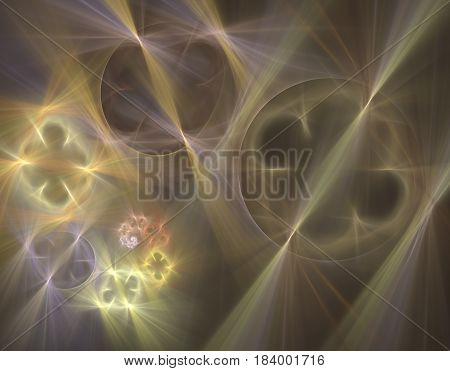 An abstract computer generated modern fractal design on dark background. Abstract fractal color texture. Digital art. Abstract Form & Colors. Abstract fractal element pattern for your design. Spiral shining holes