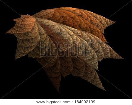 An abstract computer generated modern fractal design on dark background. Abstract fractal color texture. Digital art. Abstract Form & Colors. Fractal autumn leaf