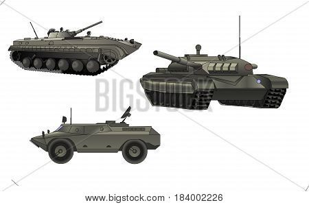 Tanks, self-propelled guns, artillery, military power. army transport