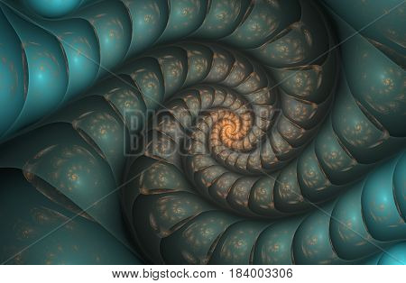 An abstract computer generated modern fractal design on dark background. Abstract fractal color texture. Digital art. Abstract Form & Colors. Abstract fractal element pattern for your design. Blue mirror 3d spiral