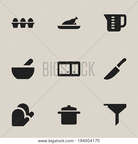 Set Of 9 Editable Meal Icons. Includes Symbols Such As Egg Carton, Mensural, Knife And More. Can Be Used For Web, Mobile, UI And Infographic Design.