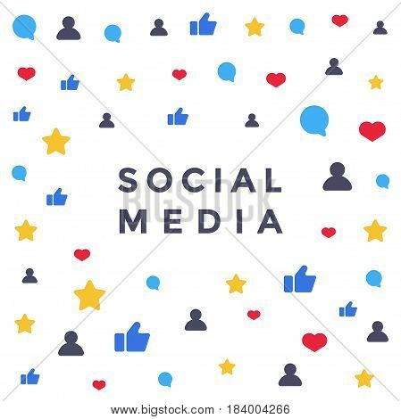 Social media background with like, comment, follower icons. Flat illustration for banner or web design.