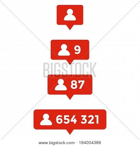 Template of counter with info for social networking. Illustration of web followers counter. Flat simple illustration.