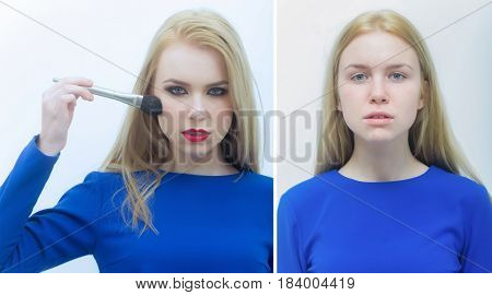 Girl Collage, Comparison Portrait Of Woman With And Without Makeup