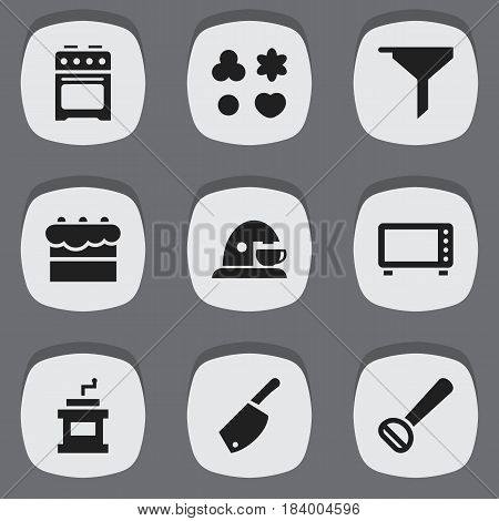 Set Of 9 Editable Cooking Icons. Includes Symbols Such As Pastry, Filtering, Stove And More. Can Be Used For Web, Mobile, UI And Infographic Design.