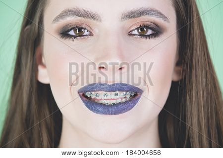 Girl Portrait, Happy Woman With Grey Lipstick On Lush Lips