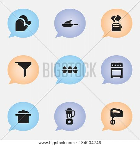Set Of 9 Editable Cooking Icons. Includes Symbols Such As Stove , Cookware, Hand Mixer. Can Be Used For Web, Mobile, UI And Infographic Design.