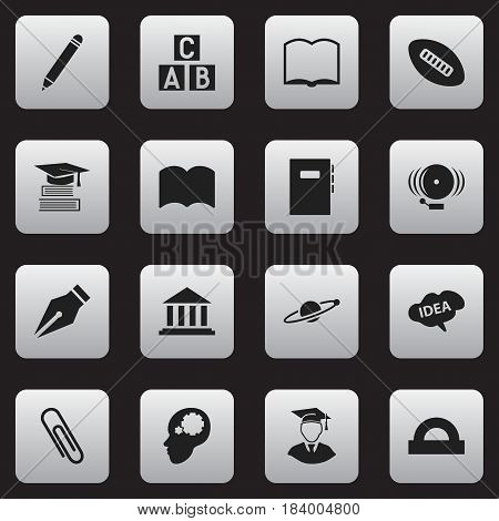 Set Of 16 Editable University Icons. Includes Symbols Such As Staple, Book, Nib And More. Can Be Used For Web, Mobile, UI And Infographic Design.