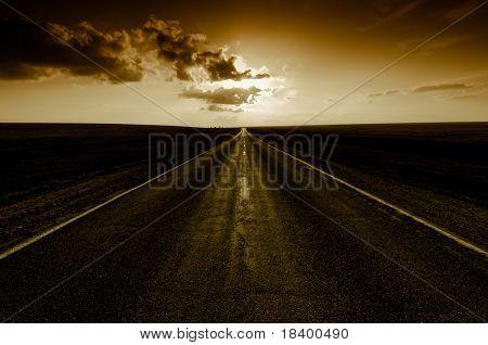 sunset on road go away