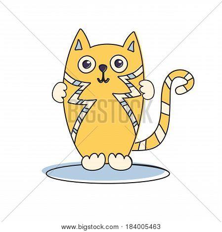 Cute cat cartoon character funny kids vector illustration.