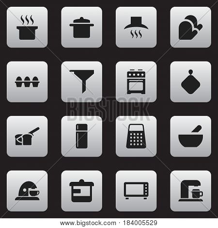 Set Of 16 Editable Meal Icons. Includes Symbols Such As Refrigerator, Egg Carton, Bakery And More. Can Be Used For Web, Mobile, UI And Infographic Design.