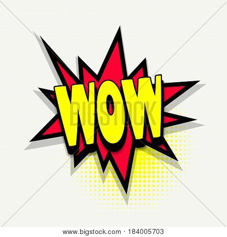 Lettering wow. Comics book balloon. Bubble icon speech phrase. Cartoon font label tag expression. Comic text sound effects. Sounds vector illustration.